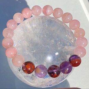 Jewelry - Genuine Rose Quartz & Cacoxenite Gemstone Bracelet